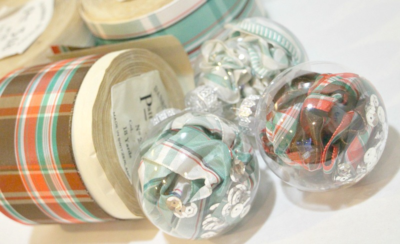 Close up of ribbon glass balls